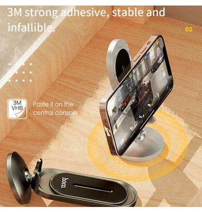 [Ready Stock] Hoco CA78 Karly Center Console Magnetic Desktop Car Mount Phone Holder for Samsung / Huawei / Xiaomi / Oppo / Vivo / Toyota / Honda / Mazda / Proton / Perodua, BMW / Benz Mercedes
