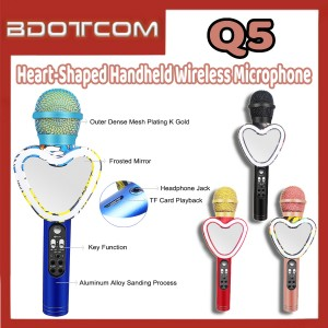 [Ready Stock] Q5 Heart-Shaped Handheld Bluetooth Wireless Microphone for Samsung / Xiaomi / Huawei / Oppo / Vivo / Realme / OnePlus