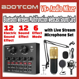 [Ready Stock] V8+ Audio Mixer Bluetooth USB Headset Webcast Live Sound Card with BM800 Microphone Set for Live Streaming / Sing Studio Recording / Smartphone / Mobile Phone / PC / Laptop / Desktop Computer
