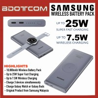 Original Samsung 10000mAh Wireless Battery Pack 25W Super Fast Charging Power Bank compatible with Samsung Galaxy Tab S7+, Tab S6 Lite, Tab S5e, Samsung Galaxy Note20 Ultra 5G, Note10, S21, S20, Galaxy Z Fold3, Galaxy Z Flip3, Galaxy Buds, Galaxy Watch