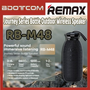 [Ready Stock] Remax RB-M48 Journey Series Bottle Portable Outdoor Wireless Bluetooth Speaker for Outdoor / Indoor / Office / House Party / Samsung / Xiaomi / Huawei / Oppo / Vivo / Realme / OnePlus