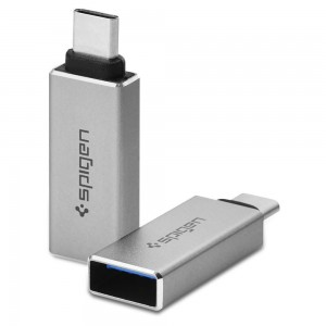 Spigen Essential CA300 USB A Female to USB Type C Male Adapter [2 Pack]
