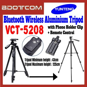 [ Ready Stock ] Original YunTeng VCT-5208 Bluetooth Wireless Aluminum Tripod for Camera / Smartphone with Phone Holder Clip and Bluetooth Remote Control
