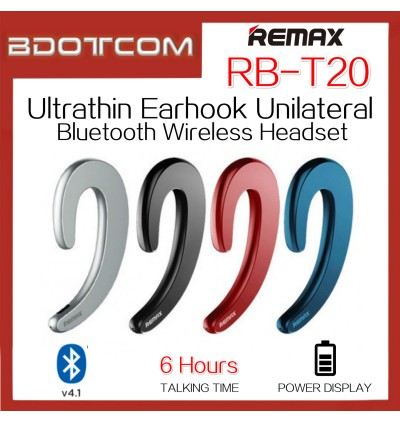 Original Remax RB-T20 Ultrathin Earhook Unilateral Bluetooth Wireless Headphone