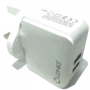 LDNIO 2.4A Dual USB Ports Auto ID Travel Charger (White)