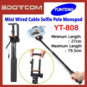 YunTeng YT-808 Extendable Mini Wired Cable Selfie Pole Monopod for Smartphone
