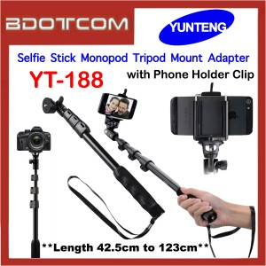 Original YunTeng YT-188 Selfie Stick Monopod Tripod Mount Adapter with Phone Holder Clip
