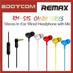 Original Remax RM-515 Candy series Stereo In-Ear Wired Headphone with Mic