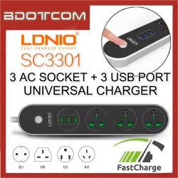 LDNIO SC3301 1.6M 3 Power Socket 3 USB Charger For Samsung / Apple / Huawei / Xiaomi / Oppo / Vivo