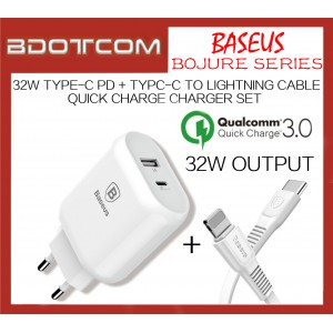 Baseus Bojure series 32W Type C PD Charger + Type-C to Lightning Cable Quick Charge Charging Set