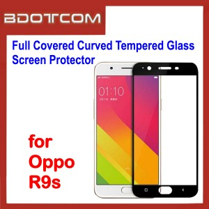 Full Covered Curved Tempered Glass Screen Protector for Oppo R9s (Black)