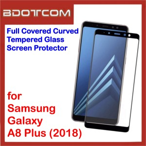 Full Covered Curved Tempered Glass Screen Protector for Samsung Galaxy A8+ 2018 A8 Plus 2018 (Black)
