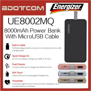 Energizer UE8002MQ 8000mAh Qualcomm 3.0 Power Bank with MicroUSB Cable