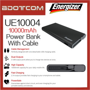 Energizer UE10004 10000mAh Power Bank With Build In MicroUSB Cable