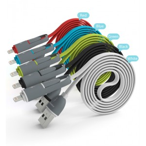 Pineng PN-301 1000mm 2 in 1 Data &Charging Cable Compatible with IOS &Andriod Device