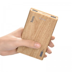 Hoco B12B Wood Grain Pattern 13000mAh Dual USB Port Power Bank