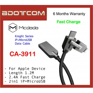 Mcdodo CA-3911 1.2M Knight Series 2 in 1 iP+MicroUSB Fast Charge Data Cable